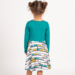 """Engine-uity"" Trains Twirly Play Dress with Long Sleeves"