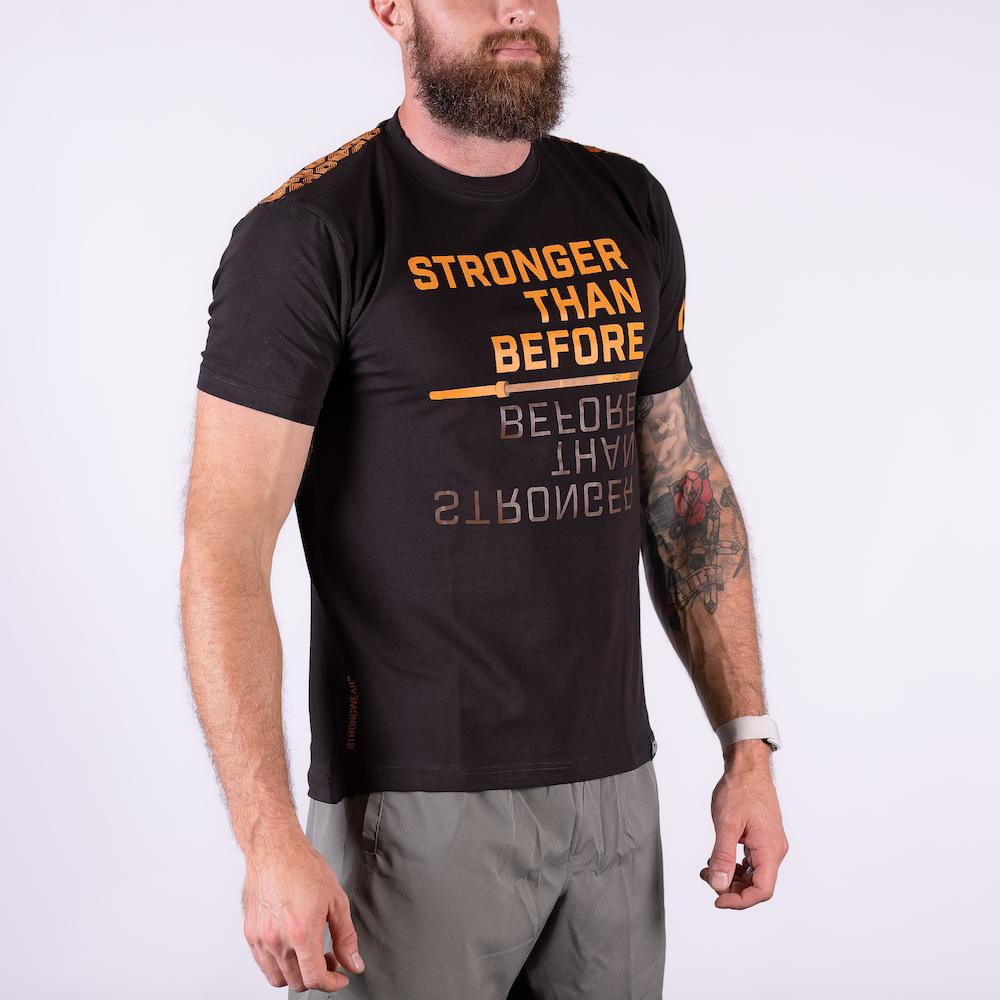 A7 Stronger Bar Grip T-shirt, great as a squat shirt. Purchase Stronger Bar Grip tshirt from A7 UK. Purchase Stronger Bar Grip Shirt Europe from A7 UK. No more chalk and no more sliding. Best Bar Grip Tshirts, shipping to UK and Europe from A7 UK. Stronger bar grip tshirt has a unique Stronger than before barbell print! The best Powerlifting apparel for all your workouts.