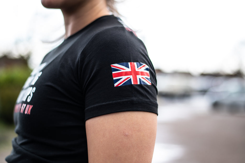 Britannia A7 Bar Grip Tshirt, great as a squat shirt. Purchase Britannia A7 Bar Grip tshirt from A7 UK. Purchase Britannia A7 Bar Grip Shirt Europe from A7 UK. Best Bar Grip Tshirts, shipping to UK and Europe from A7 UK. Britannia A7 bar grip tshirt has a unique distressed union jack flag print with A7 logo on the front and Union Jack flag Bar Grip pattern on the back! The best Powerlifting apparel for all your workouts. Available in UK and Europe including France, Italy, Germany, Sweden and Poland