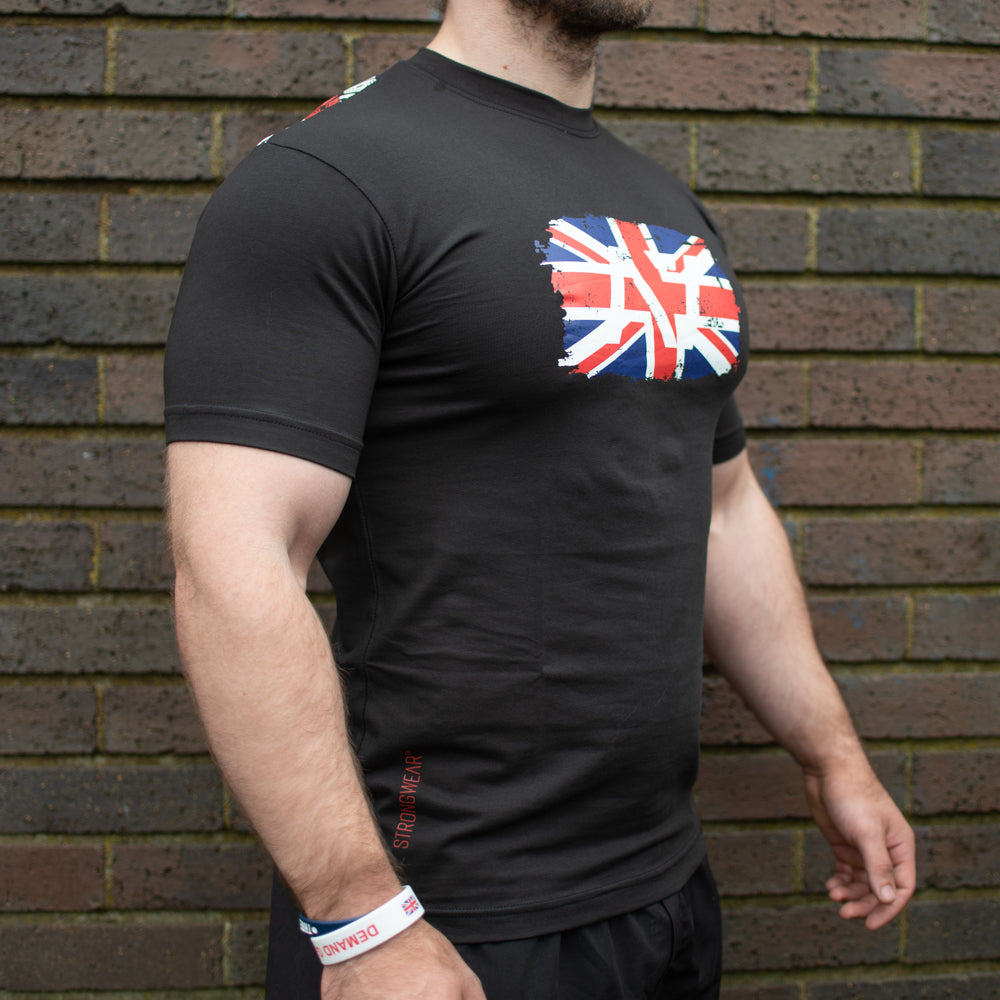 Britannia A7 Bar Grip T-shirt, great as a squat shirt. Purchase Britannia A7 Bar Grip tshirt from A7 UK. Purchase Britannia A7 Bar Grip Shirt Europe from A7 UK. No more chalk and no more sliding. Best Bar Grip Tshirts, shipping to UK and Europe from A7 UK. Britannia A7 bar grip tshirt has a unique distressed union jack flag print with A7 logo on the front and Union Jack flag Bar Grip pattern on the back! The best Powerlifting apparel for all your workouts.