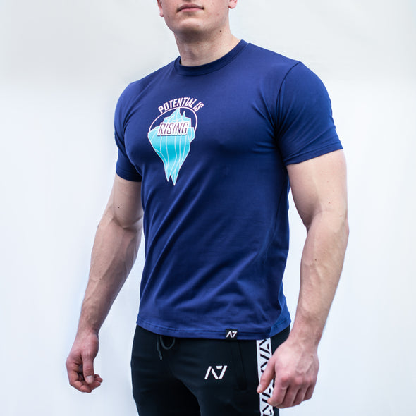A7 Rising Bar Grip T-shirt, great as a squat shirt. Purchase Rising Bar Grip tshirt from A7 UK. Purchase Rising Bar Grip Shirt Europe from A7 UK. Best Bar Grip Tshirts, shipping to UK and Europe from A7 UK. Stronger bar grip tshirt has a unique Potential is rising print! The best Powerlifting apparel for all your workouts. Bar Grip is a performance shirt with a patent-pending silicone grip. Available in UK and Europe including France, Italy, Germany, Sweden and Poland