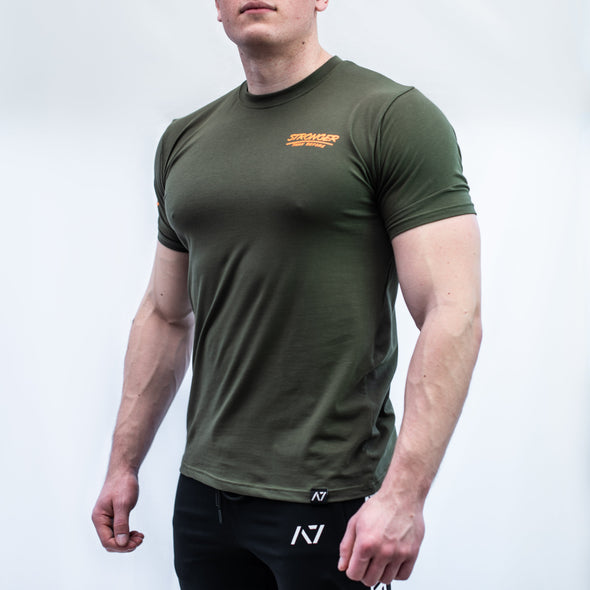 A7 MA-1 Bar Grip T-shirt, great as a squat shirt. Purchase MA-1 Bar Grip tshirt from A7 UK. Purchase MA-1 Bar Grip Shirt Europe from A7 UK. No more chalk and no more sliding. Best Bar Grip Tshirts, shipping to UK and Europe from A7 UK. Stronger bar grip tshirt has a unique Stronger than before barbell print! The best Powerlifting apparel for all your workouts. Bar Grip is a performance shirt with a patent-pending silicone grip that is designed to help with slippery benches and bars.