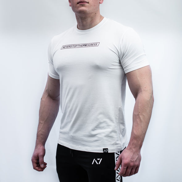 A7 Statement Bar Grip T-shirt, great as a squat shirt. Purchase Statement Bar Grip tshirt from A7 UK. Purchase Statement Bar Grip Shirt Europe from A7 UK. No more chalk and no more sliding. Best Bar Grip Tshirts, shipping to UK and Europe from A7 UK. Stronger bar grip tshirt has a unique Stronger than before barbell print! The best Powerlifting apparel for all your workouts. Bar Grip is a performance shirt with a patent-pending silicone grip that is designed to help with slippery benches and bars.