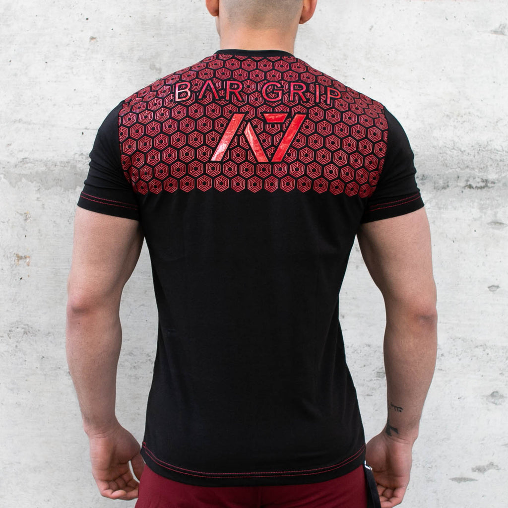 Fire Bar Grip T-shirt, great as a squat shirt. Purchase Fire Bar Grip tshirt from A7 UK. Purchase Fire Bar Grip Shirt Europe from A7 UK. No more chalk and no more sliding. Best Bar Grip Tshirts, shipping to UK and Europe from A7 UK. Fire bar grip tshirt has a unique Unique red and black print! The best Powerlifting apparel for all your workouts.