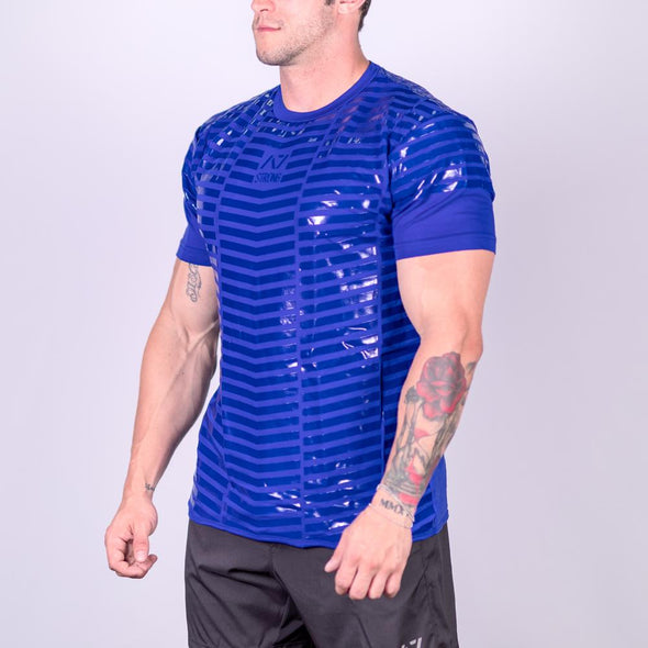 Strongman Blue Bar Grip Shirt, great as a squat shirt. Purchase Strongman Blue Bar Grip Shirt from A7 UK. Purchase Strongman Blue Bar Grip Shirt Europe from A7 UK. No more chalk and no more sliding. Best Bar Grip Strongman Shirts. Shipping to UK and Europe from A7 UK. Strongman Blue Bar Grip Shirt has a full front grip perfect for workouts like atlas stones, yoke carries and log presses. You can even do front squats and hip thrusts in it!! The best Powerlifting apparel for all your workouts.