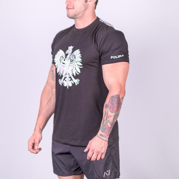 A7 Poland Bar Grip T-shirt, great as a squat shirt. Purchase Poland Bar Grip tshirt from A7 UK. Purchase Poland Bar Grip Shirt Europe from A7 UK. Best Bar Grip Tshirts, shipping to UK and Europe from A7 UK. Poland bar grip tshirt has a unique eagle print! The best Powerlifting apparel for all your workouts. Bar Grip is a performance shirt with a patent-pending silicone grip. Available in UK and Europe including France, Italy, Germany, Sweden and Poland