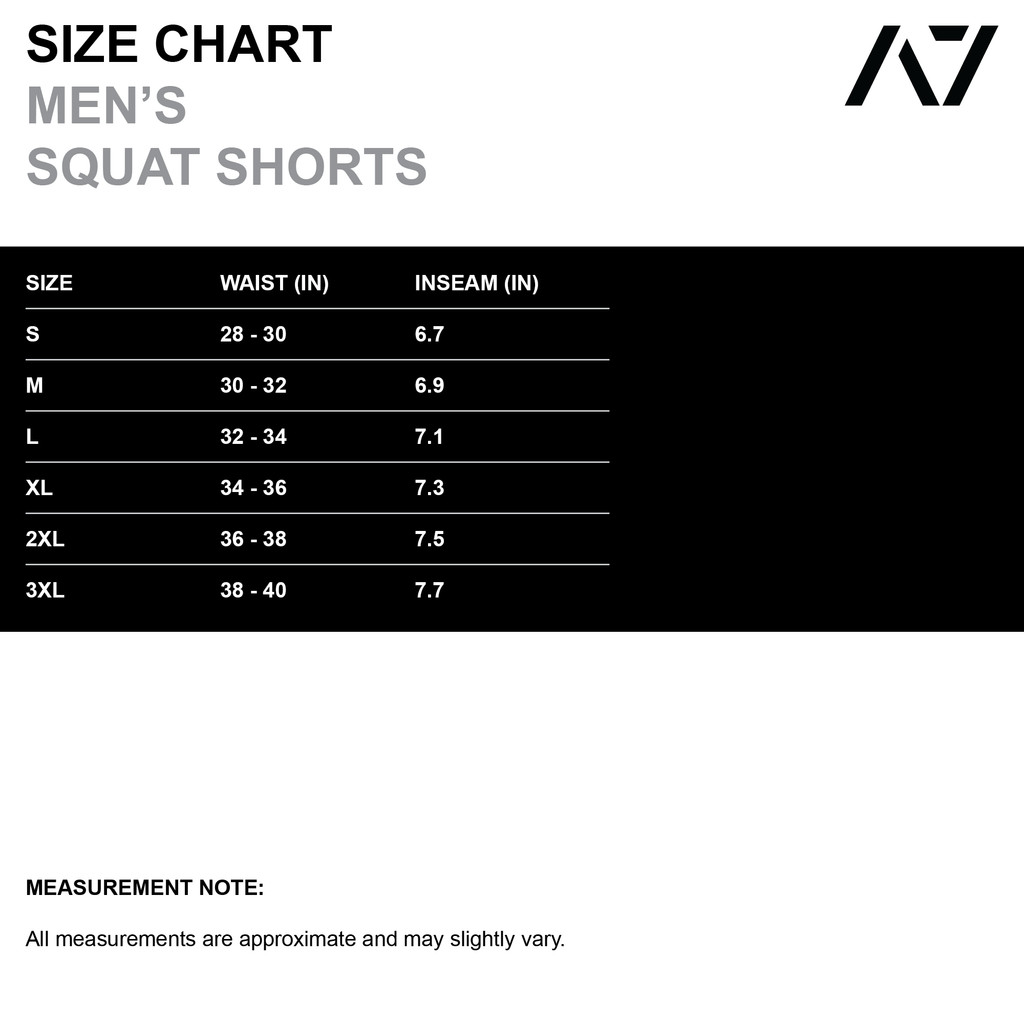 Have you ever squatted in shorts and realised that they may be too tight on you at the bottom of a squat? We have solved this problem with A7 centre-stretch Squat Shorts. The shorts are made with stretchy fabric in between legs so you are never constricted during your squat. Shipping to UK and Europe.