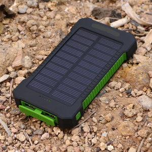 10000mAh Solar Powered Charger with 2 USB Ports + LED Torch