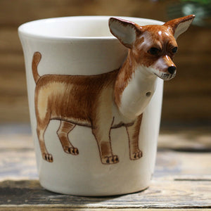 200ml animal chihuahua ceramic cup hand-painted cartoon coffee cup creative gift mug with handle personalized gift
