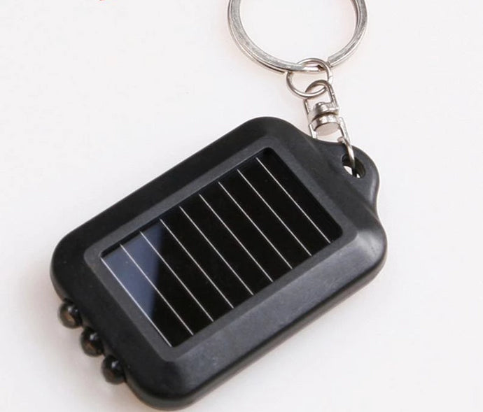 Mini Solar Power 3 LED Light Keychain Torch