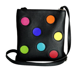 Unique black elk leather handbag with colorful balls, 24 x 22 cm, handmade in Finland.