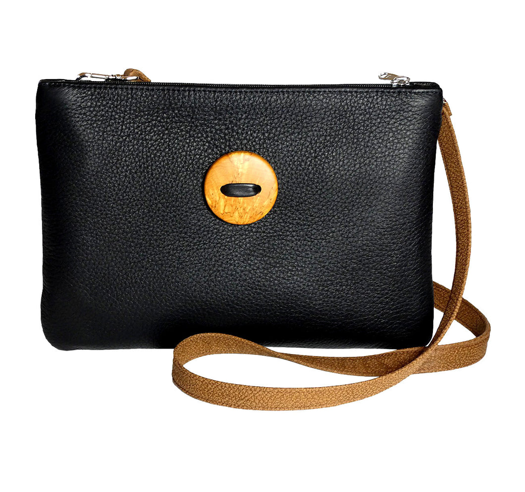 Black elk leather handbag with curly birch button in the middle, 21 x 30 cm, handmade in Finland