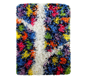 "Handwoven wool-linen wall hanging rug, white branch figure on colorful base, 20 x 30 cm, 7,87 x 11,8""."
