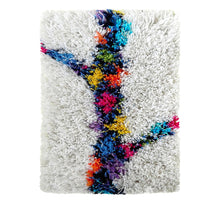 "Load image into Gallery viewer, Handwoven wool-linen wall hanging rug, spring branch figure on white base, 20 x 30 cm, 7,87 x 11,8""."