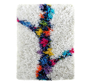"Handwoven wool-linen wall hanging rug, spring branch figure on white base, 20 x 30 cm, 7,87 x 11,8""."