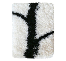 "Load image into Gallery viewer, Handwoven wool-linen wall hanging rug, black branch figure on white base, 20 x 30 cm, 7,87 x 11,8""."