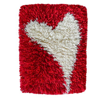 Load image into Gallery viewer, Unique and beautiful handwoven wool/linen Scandinavian wall hanging rug, simple white heart figure on red background, width 20, length 30 cm