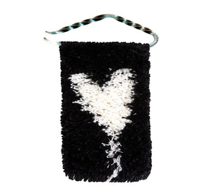 "Handwoven wool/linen small wall rug, artistic white heart on black, 10x18 cm, 3,94x7,09"", iron hanger."
