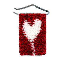 "Load image into Gallery viewer, Handwoven wool/linen small wall rug, artistic white heart on red, 10x18 cm, 3,94x7,09"", iron hanger."