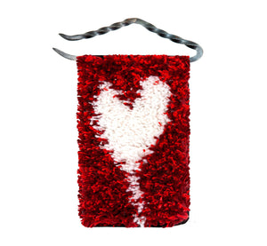 "Handwoven wool/linen small wall rug, artistic white heart on red, 10x18 cm, 3,94x7,09"", iron hanger."
