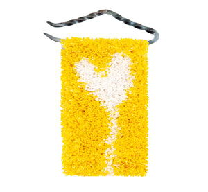 "Handwoven wool/linen small wall rug, artistic white heart on yellow, 10x18 cm, 3,94x7,09"", iron hanger."