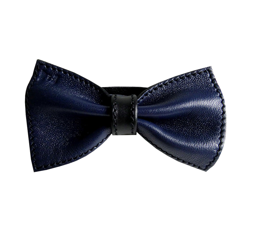Unique leather bow tie reversible, two-in-one blue and black sides, width 12 cm, blue side, handmade in Scandinavia