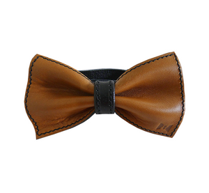 LEATHER BOW TIE HANDMADE, REVERSIBLE TWO-IN-ONE - DARK BROWN-BLACK, IN HANDMADE WOODEN BOX