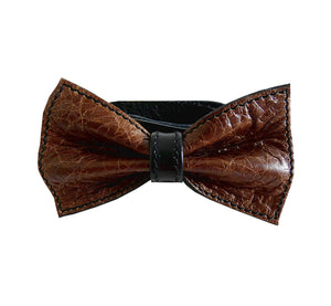 Unique leather bow tie reversible, two-in-one dark-brown and black sides, width 12 cm, dark-brown side, handmade in Scandinavia