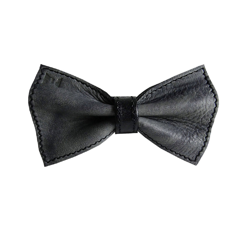 Unique leather bow tie reversible, two-in-one gray and black sides, width 12 cm, gray side, handmade in Scandinavia