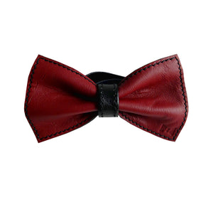 Unique leather bow tie reversible, two-in-one red and black sides, width 12 cm, red side, handmade in Scandinavia