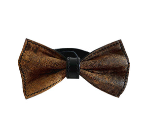Unique leather bow tie reversible, two-in-one rustic brown and black sides, width 12 cm, rustic side, handmade in Scandinavia