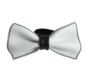 Unique leather bow tie reversible, two-in-one white and black sides, width 12 cm, white side, handmade in Scandinavia