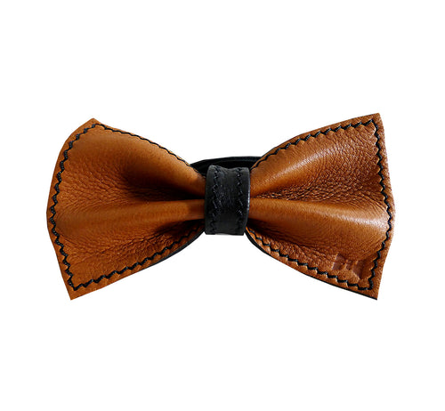 Unique reindeer leather bow tie reversible, two-in-one brown and black sides, width 12 cm, brown side, handmade in Scandinavia