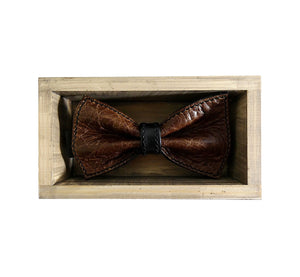 Unique leather dark brown bow tie in stylish handmade light wood gift box made in Finland Scandinavia, rectangle width 15, height 5