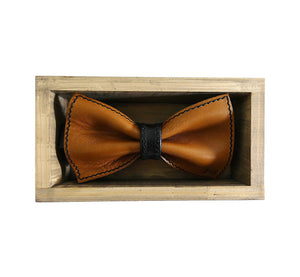 Unique leather brown bow tie in stylish handmade light wood gift box made in Finland Scandinavia, rectangle width 15, height 5