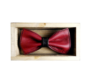 Unique leather red bow tie in stylish handmade light wood gift box made in Finland Scandinavia, rectangle width 15, height 5