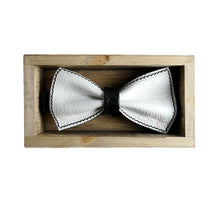 Load image into Gallery viewer, Unique leather white bow tie in stylish handmade light wood gift box made in Finland Scandinavia, rectangle width 15, height 5