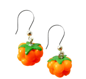 Orange real looking cloudberry earrings, polymeric clay, size 1.2x1.2 cm, 0.47x0.47 inch, handmade Scandinavian.