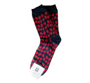 Pair of dark blue socks with many red strawberries, cuff and heel dark blue, breathable, resistant, ethically made in Scandinavia.