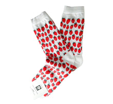 Load image into Gallery viewer, Pair of white socks with many red strawberries, cuff and heel white, breathable, resistant, ethically made in Scandinavia.