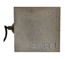 "Load image into Gallery viewer, Cube concrete table lamp gray, 10x10x10 cm, 3.94x3.94x3,94"", weight 1 kg, artisan handmade Scandinavian style."