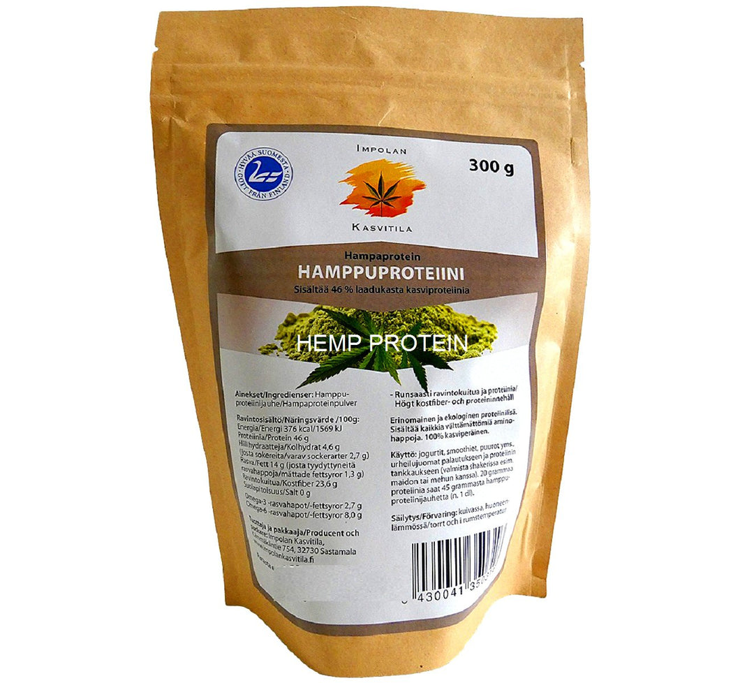 Bag of ecological hemp protein powder 300 g, rich source of vitamins, minerals and protein, produced in Scandinavia.