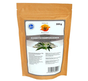 Bag of ecological shelled hemp seed 300 g, all-natural protein burst, produced in Scandinavia