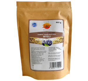 Bag of ecological wild blueberry hemp muesli 400g, superfood from pure nature, produced in Scandinavia.