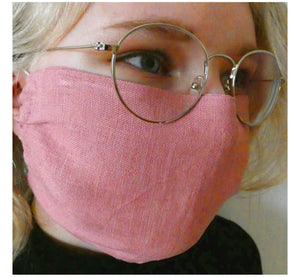 Young women wearing glasses and handmade double layer face mask, 100% linen fabric, mask color rose, face cover