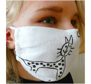 Women wearing handmade double layer face mask, 100% linen fabric, white with hand printed black cat print, face cover