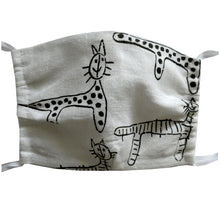 Load image into Gallery viewer, Washable and reusable handmade double layer face mask, 100% linen fabric, white with hand printed black cat print, face cover