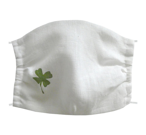 Washable and reusable handmade double layer face mask, 100% linen fabric, white with hand printed green clover figure, face cover .