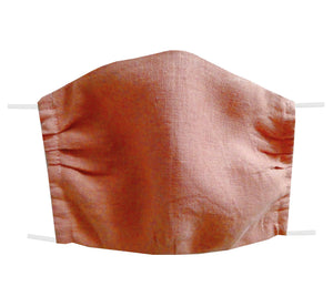 Washable and reusable handmade double layer face mask, 100% linen fabric, color rose, face cover