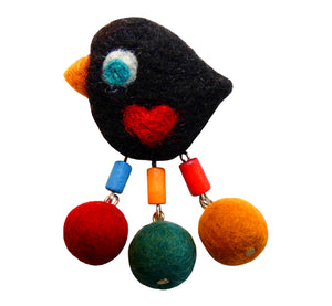 "Black felt cute bird brooch, 6x4 cm, 2.36x1.57"", red felt heart in middle, handmade by artisan."